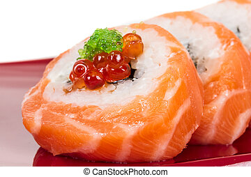Japanese sushi traditional japanese food.Roll made of...