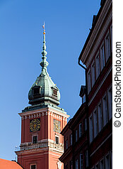 Warsaw, Poland. Old Town - famous Royal Castle. UNESCO World Heritage Site.
