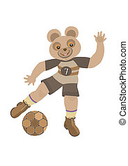 Bear beats the ball with his foot