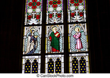 Stained glass windows at cathedral in Prague