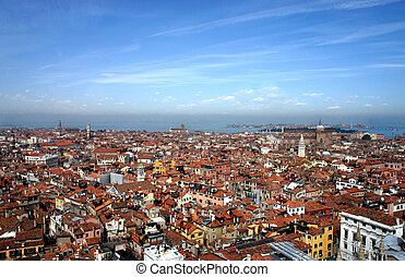 Venice roofs in summer sunny day, Italy