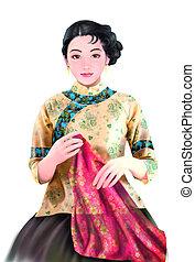 chinese lady  - Beautiful chinese lady painting