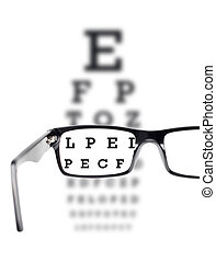 Sight test seen through eye glasses, white background...