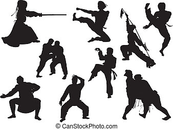 fighting sports - vector silhouette