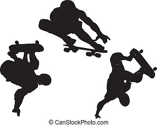 skateboarding vector - silhouette collection of...