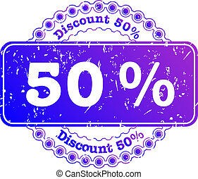 Stamp Discount fifty percent - illustration stamp discount...