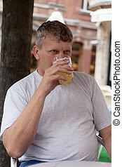 maduras, homem, bebidas, Cerveja, rua, café