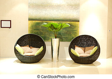 Relaxation chairs at the lobby of luxury hotel, Dubai, UAE