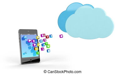 mobile phone app cloud sync concept - generic mobile phone...