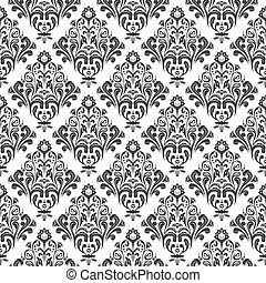 Seamless damask pattern - Black and white floral damask...