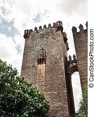 detalhe, castelo, Almodovar, del, Rio, Cordoba, Espanha
