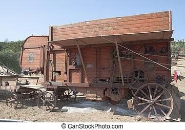 máquina, antiguo, trigo, años,  60, trilla
