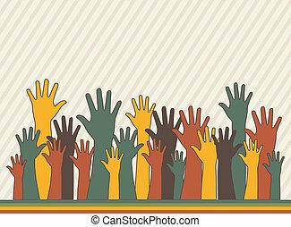 hands up over stripes background, vintege. vector...