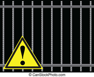 Grate sign attention - Steel reinforcing rods of the gril,...