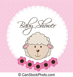 baby shower - pink baby shower card with sheep vector...