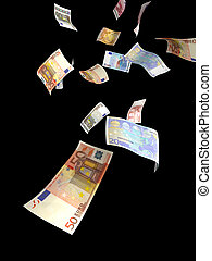 Euro money rain - Euro paper currency of different...