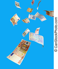 euro money raining from the sky several euro bills isolated...