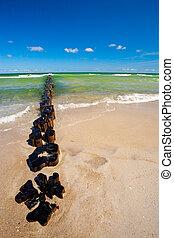 groynes at beach on summer day - Beach erosion barrier on...