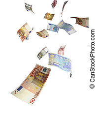 Money Rain - Euro paper currency of different denominations...