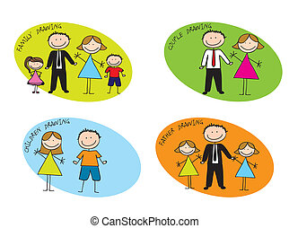 families drawing - colorful families drawn ove white...