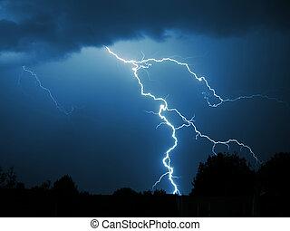 Lightning strike - Dramatic nighttime view of a lightning...