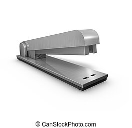 Stapler - Brushed metal stapler office tool isolated on...