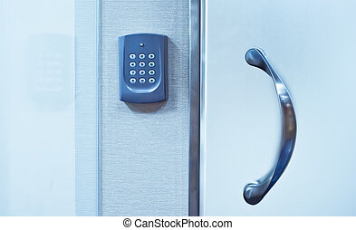 Security system on door - Electronic access control securing...