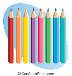 Colored Pencils - Colored pencils in red, orange, yellow,...