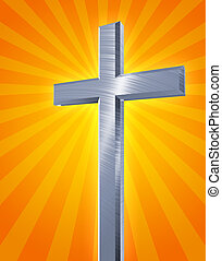 holy cross - brushed metal christian cross casting an orange...