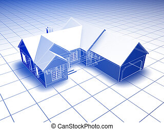 3D Blueprint House - Blueprint style 3D rendered house. Blue...