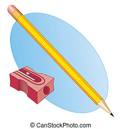 Pencil and Sharpener - Pencil and pencil sharpener for back...