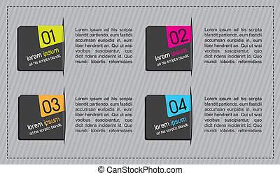 design labels with numbers over gray background. vector...