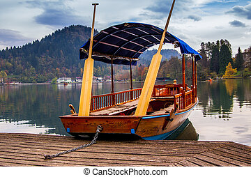 A pletna, traditional Slovenia boat, on Lake Bled with Bled...
