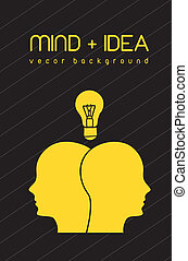 mind and idea - silhouette face with bulb, mind and idea....