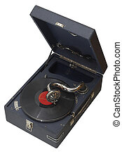 gramophone - Sight at an old record player and plate from...