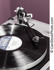 Vinyl analog record player cartridge and LP - Long Playing...