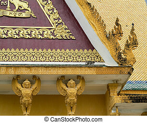 Ornate buildings in Royal Palace Cambodia - Details of roof...