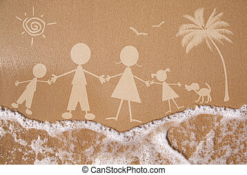 Summer family vacation concept on wet sand texture