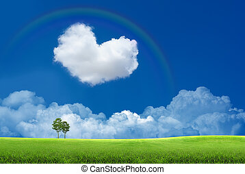 Blue sky with clouds and a rainbow - Blue sky with heart...