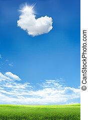 Heart shaped cloud - Heart shapes cloud on blue sky and...