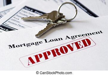 verdadero, propiedad, hipoteca, aprobado, préstamo,...