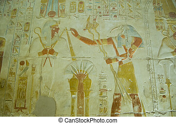 Thoth praising Osiris bas relief - Ancient Egyptian bas...