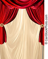 curtain background - red curtain with golden background and...