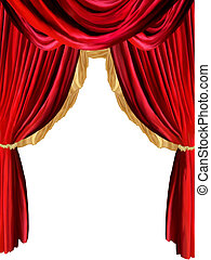 curtain background with golden detail and withe background