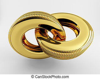 Gold chain of tire - Two tires of gold in the form of a...