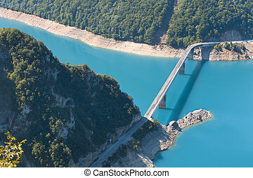 bridge cross the blue river in mountains, Montenegro