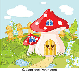 House of Gnome - Cartoon landscape with a House of Gnome