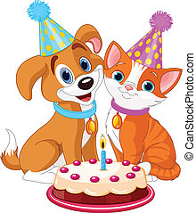Cat and Dog celebrating - Cat and dog celebrating birthday...