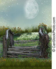Fantasy garden - Fantasy bridge in garden with flowers and...