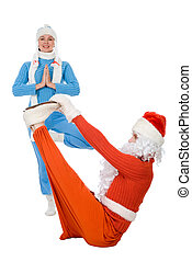 Santa Claus and the Snow Maiden of yoga. Isolated on white